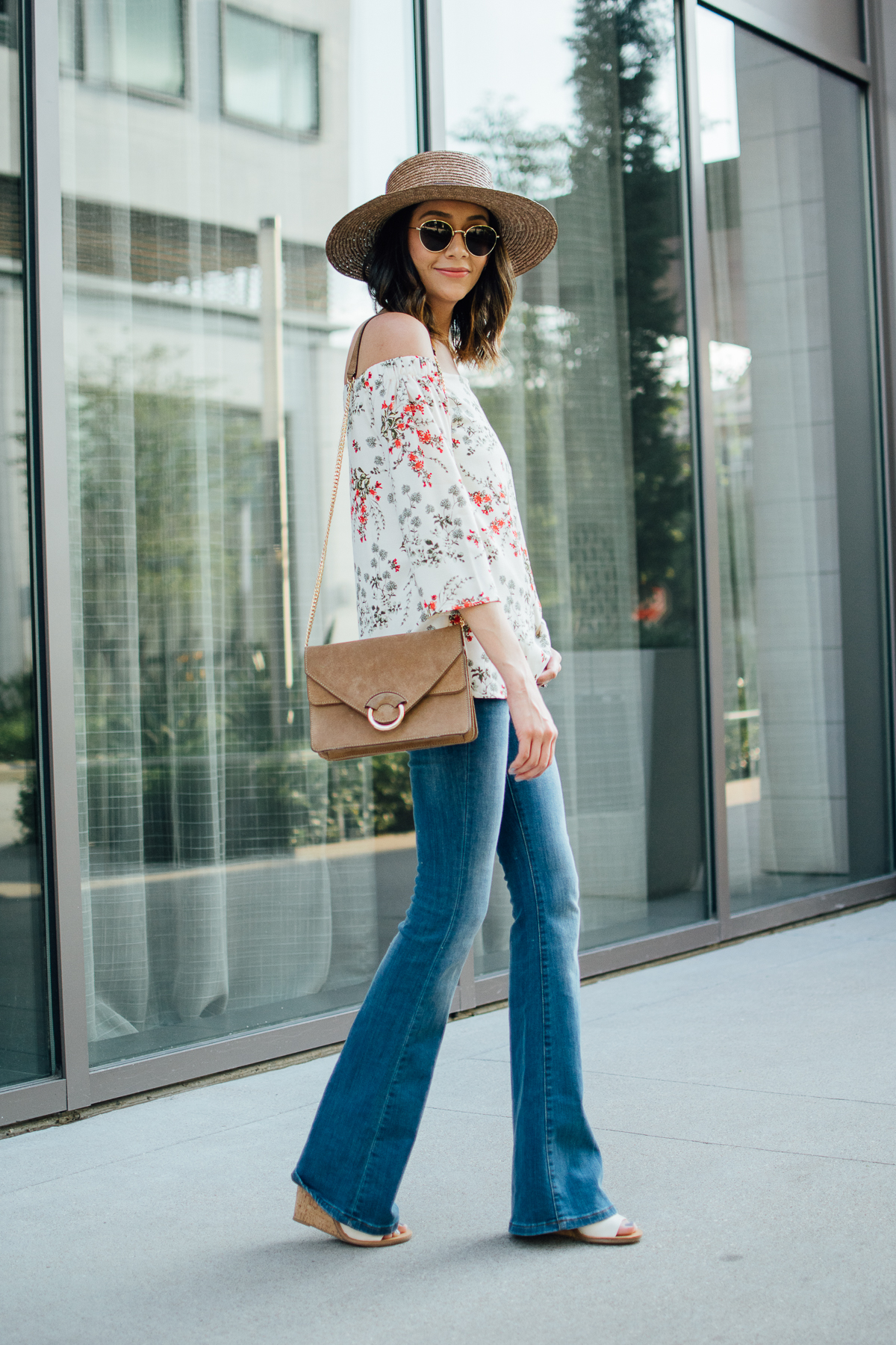 off-the-shoulder-top & flared jeans