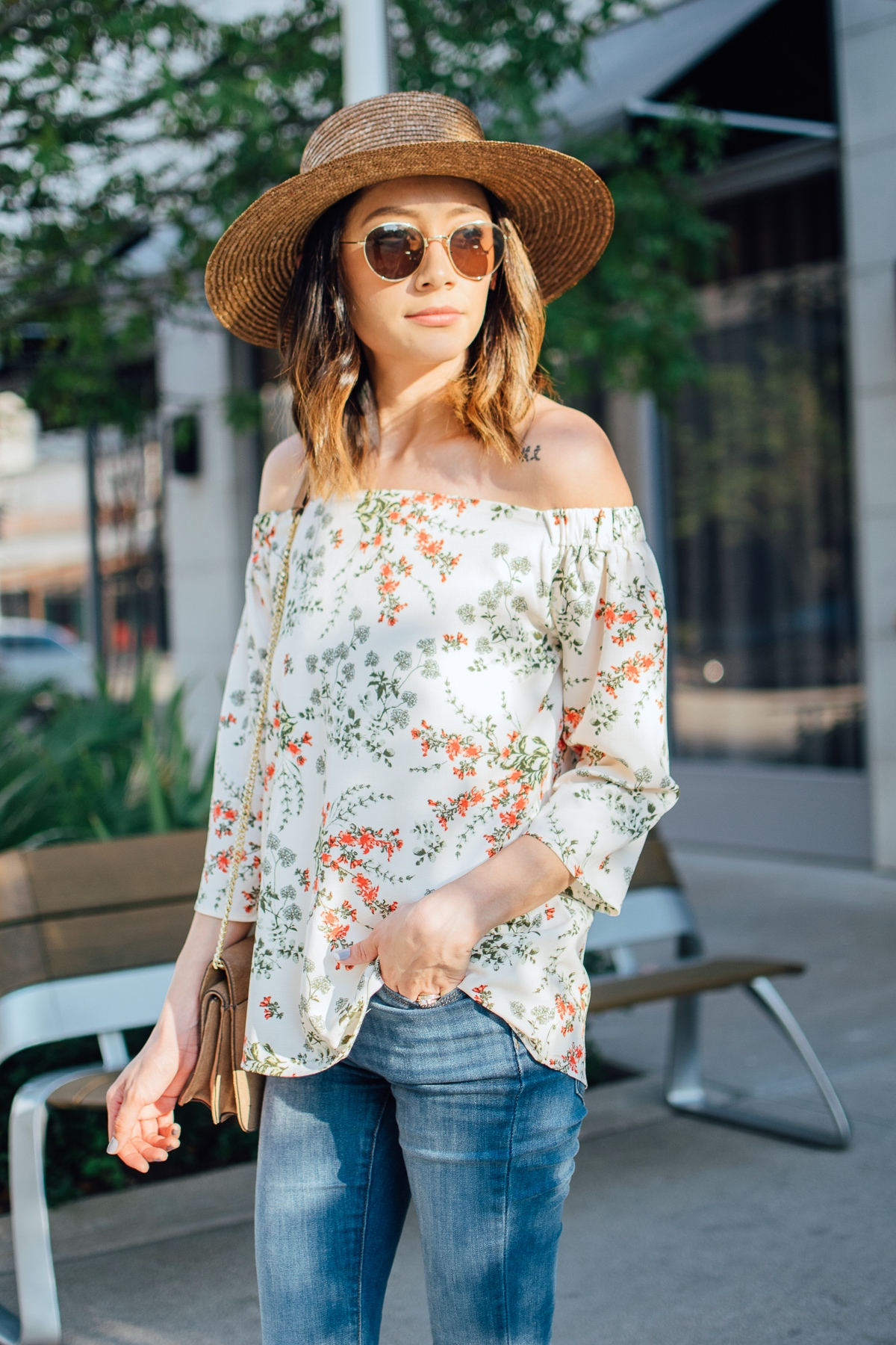 Floral off-the-shoulder-top