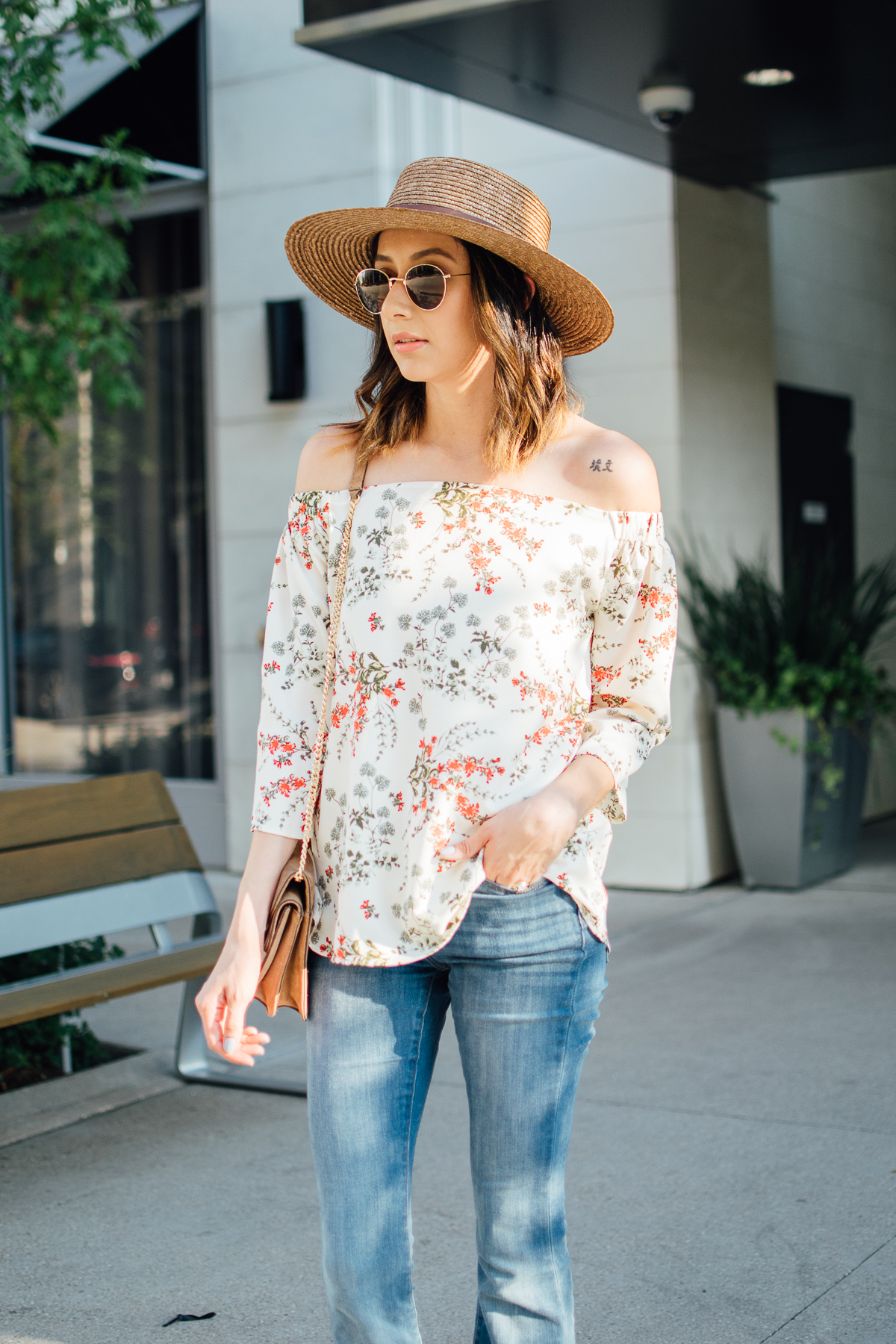 off-the-shoulder-top outfit for fall