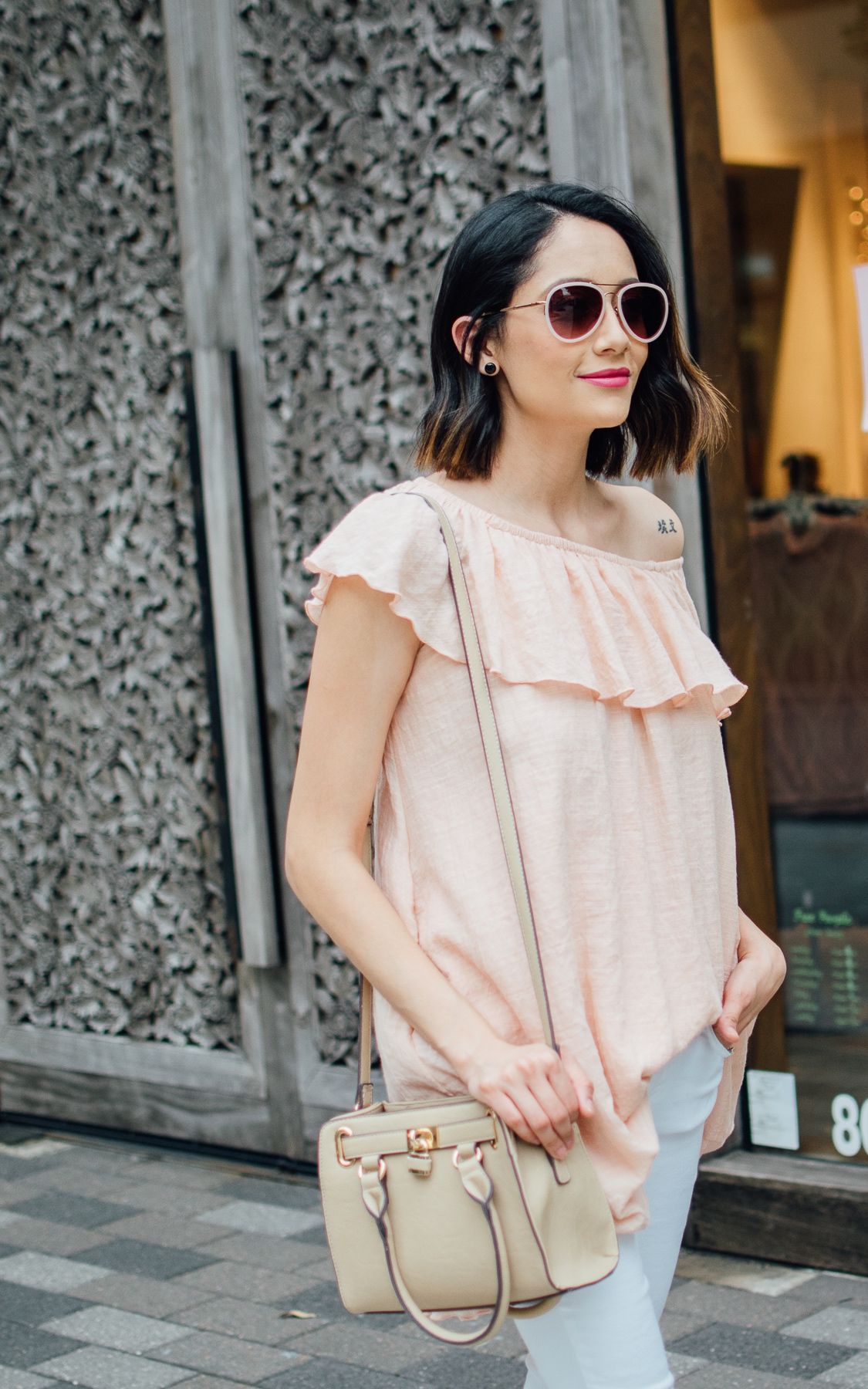Transitioning your off-the-shoulder top to fall