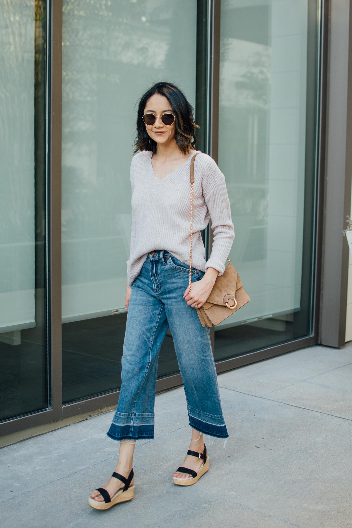 Style blogger Lilly Beltran styles wide leg denim with undone hems & cozy wool sweater