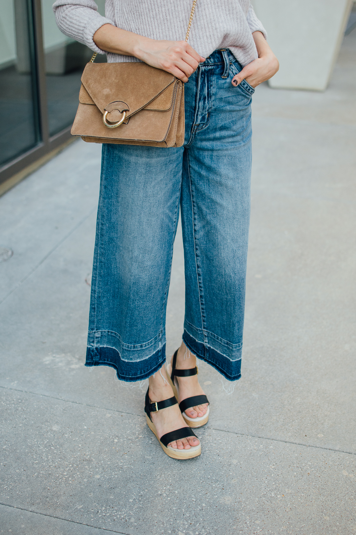 Daily Craving in wide leg denim and platform sandals
