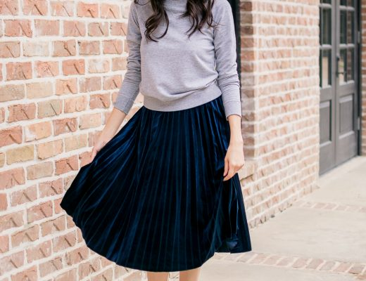 Fashion blogger Lilly Beltran wearing a blue velvet skirt