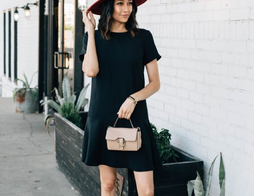 Style blogger Lilly Beltran of Daily Craving wearing a little black dress with J.Crew espadrilles, beige bag and red hat