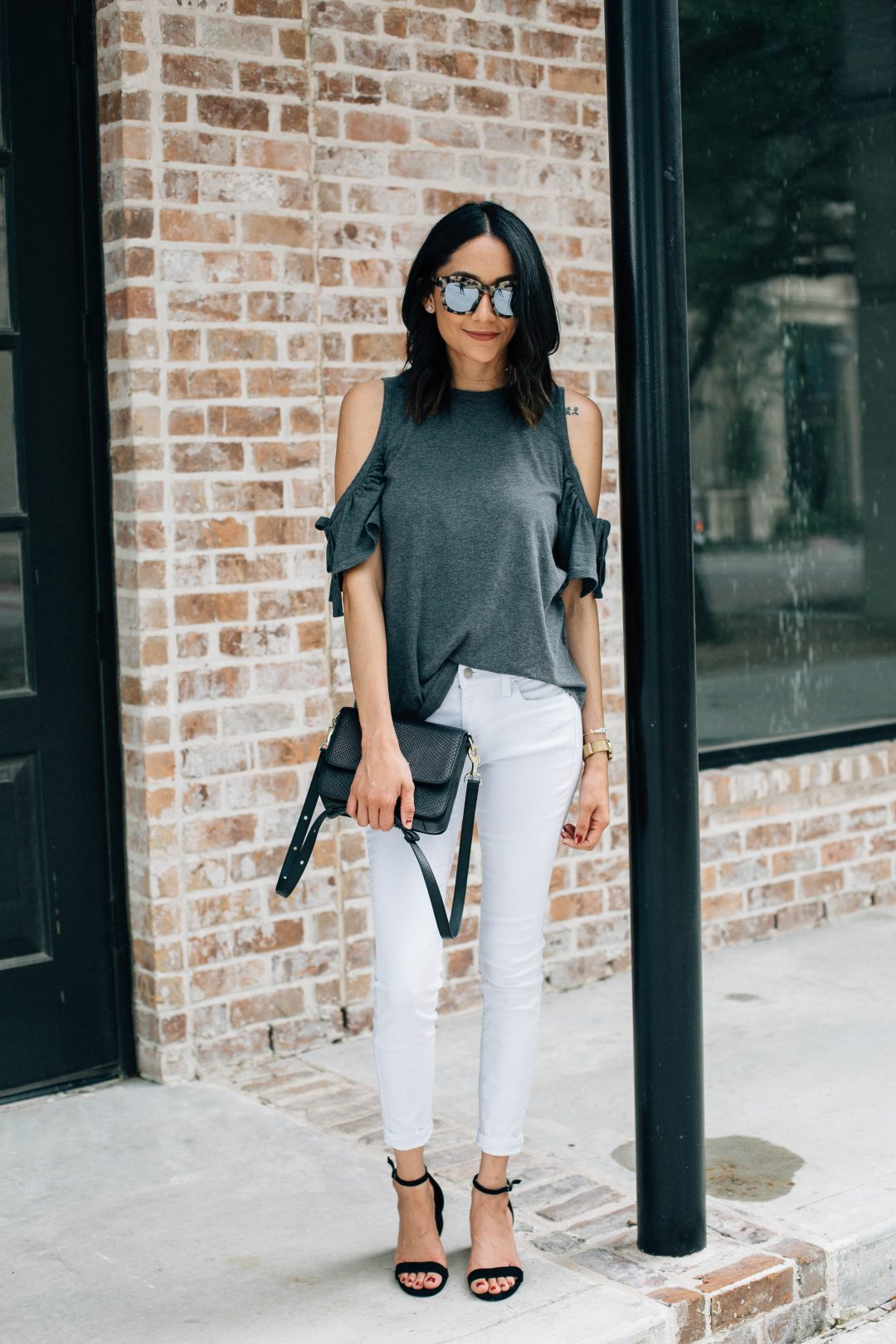 Spruce up your weekend look with a cold shoulder top