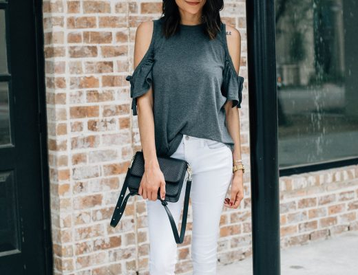 Lifestyle blogger Lilly of Daily Craving in a casual weekend look with a cold shoulder top and white jeans