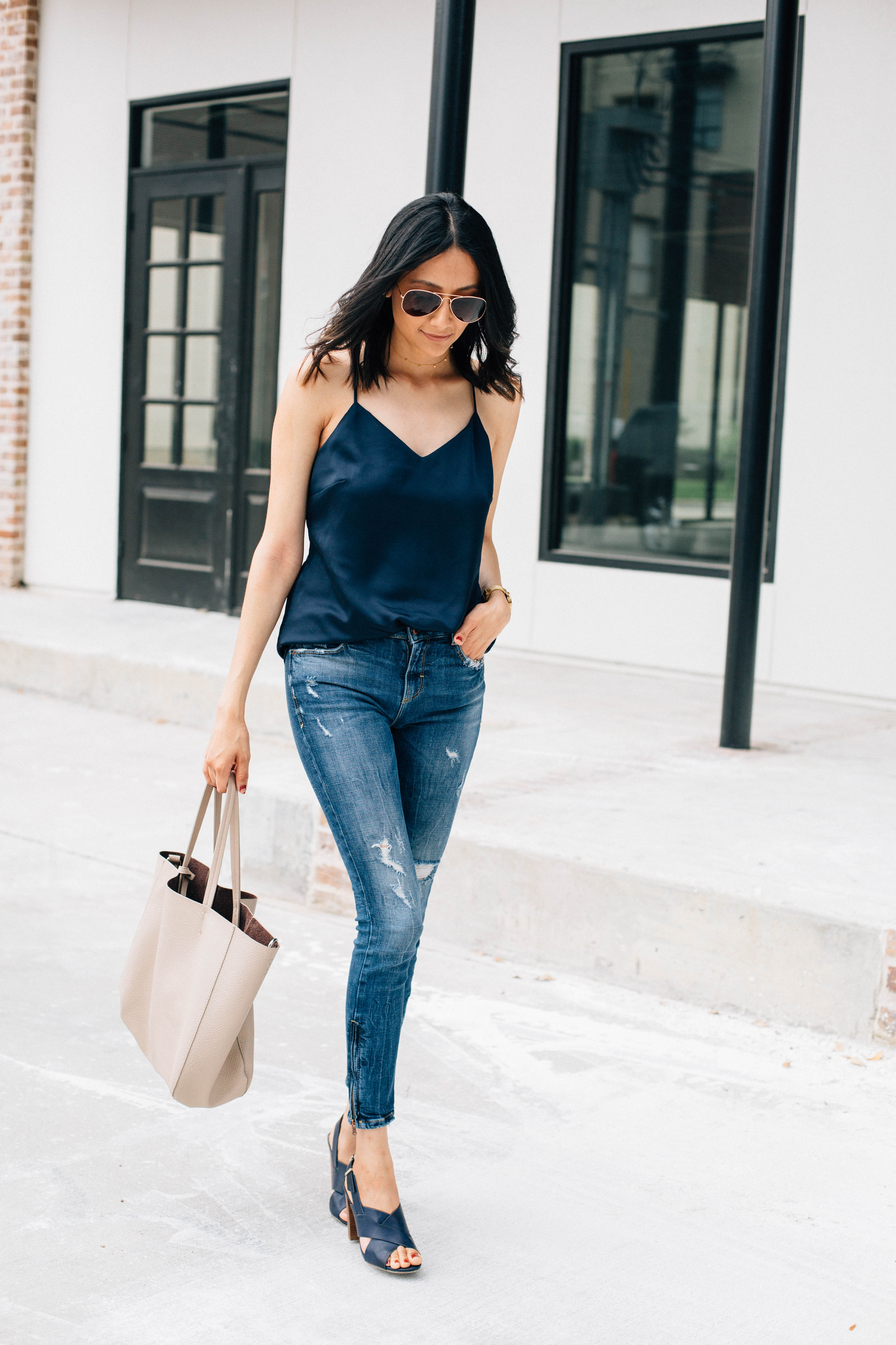 Summer Outfit | Effortless Style | Skinny Jeans & Silk Cami | Street Style