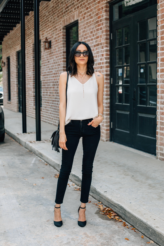 Black skinny jeans & silk cami