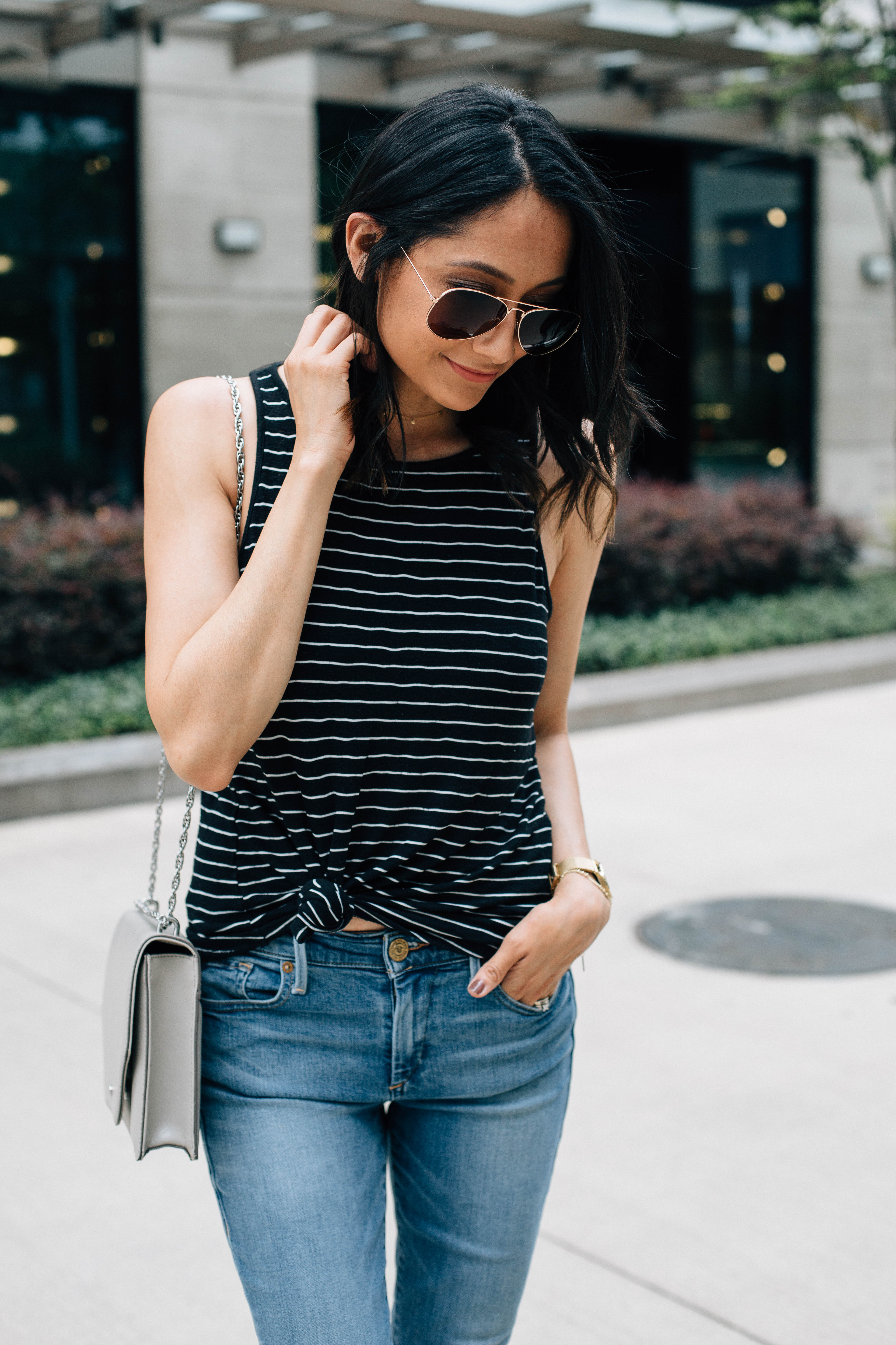 Knotted striped tee
