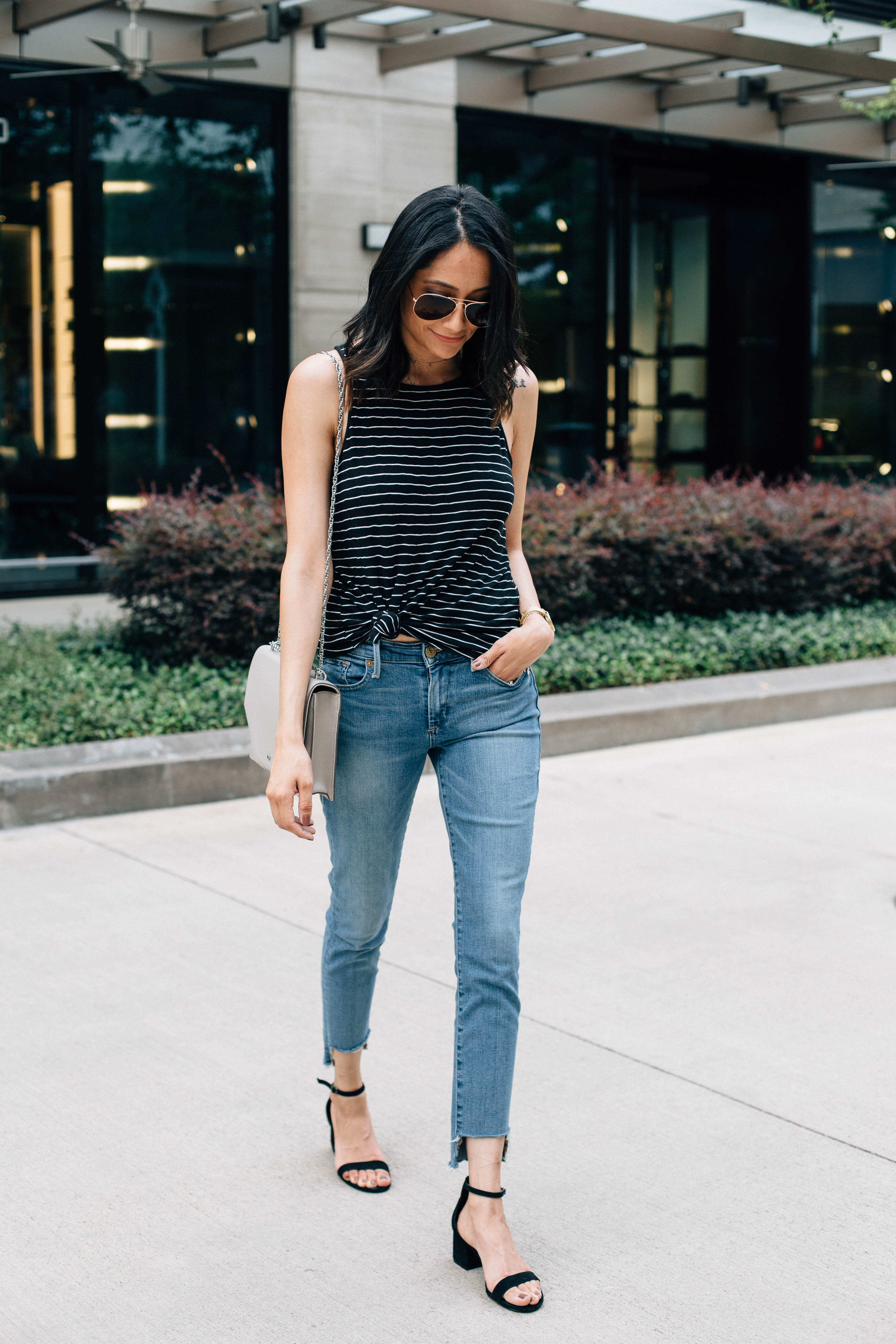 The best fashion DIY. Weekend look. Casual look. Raw hem jeans and striped top