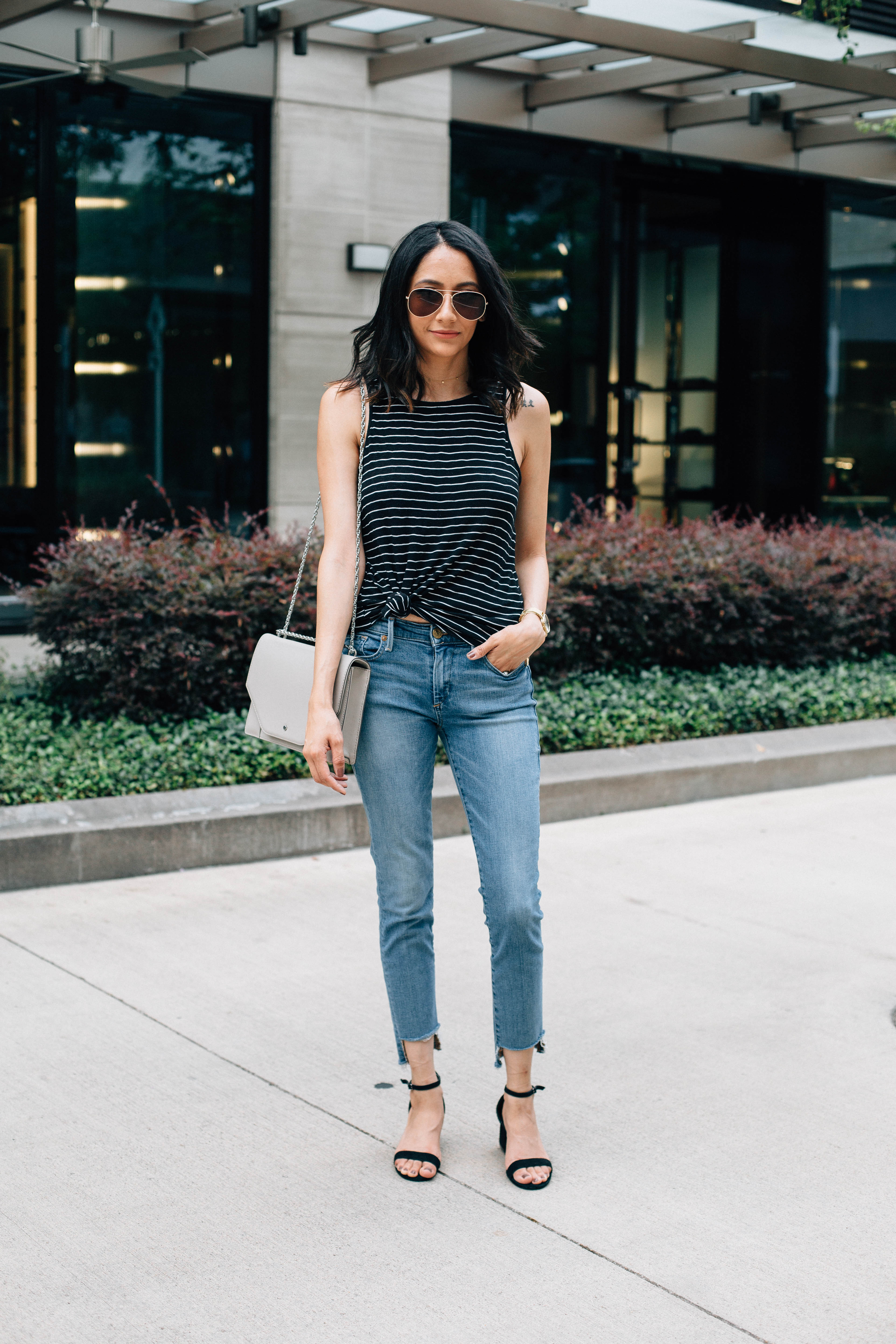 The best fashion diy on the internet. Raw hem jeans and striped top. Minimal. Effortless style.