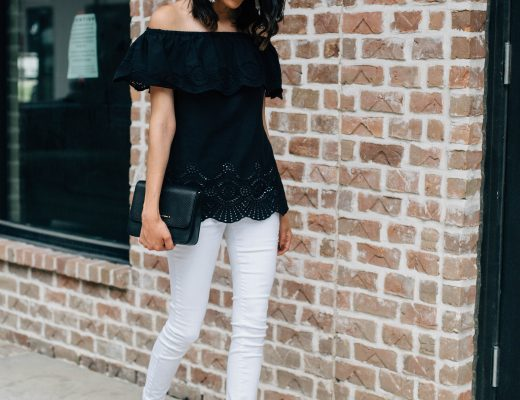 Date night look with Dillard's. Eyelet off the shoulder top, white denim and lace up suede heels.