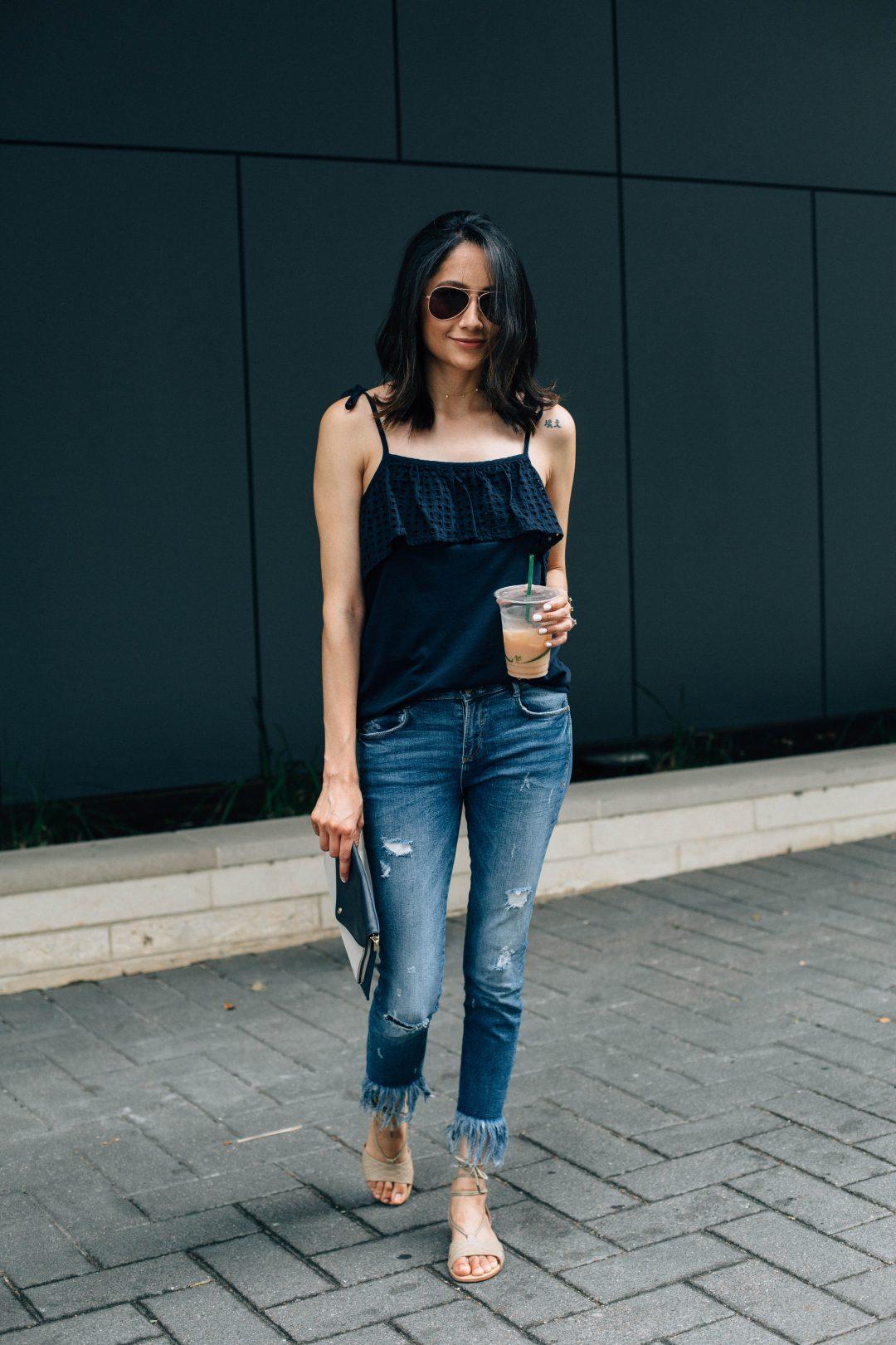 Loft Eyelet top, Zara jeans & Emu Australia sandals.