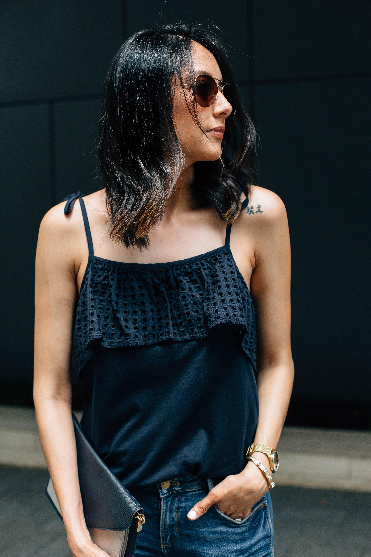 Summer Outfit. Loft Eyelet Top, Zara fringe jeans & Emu Australia sandals.