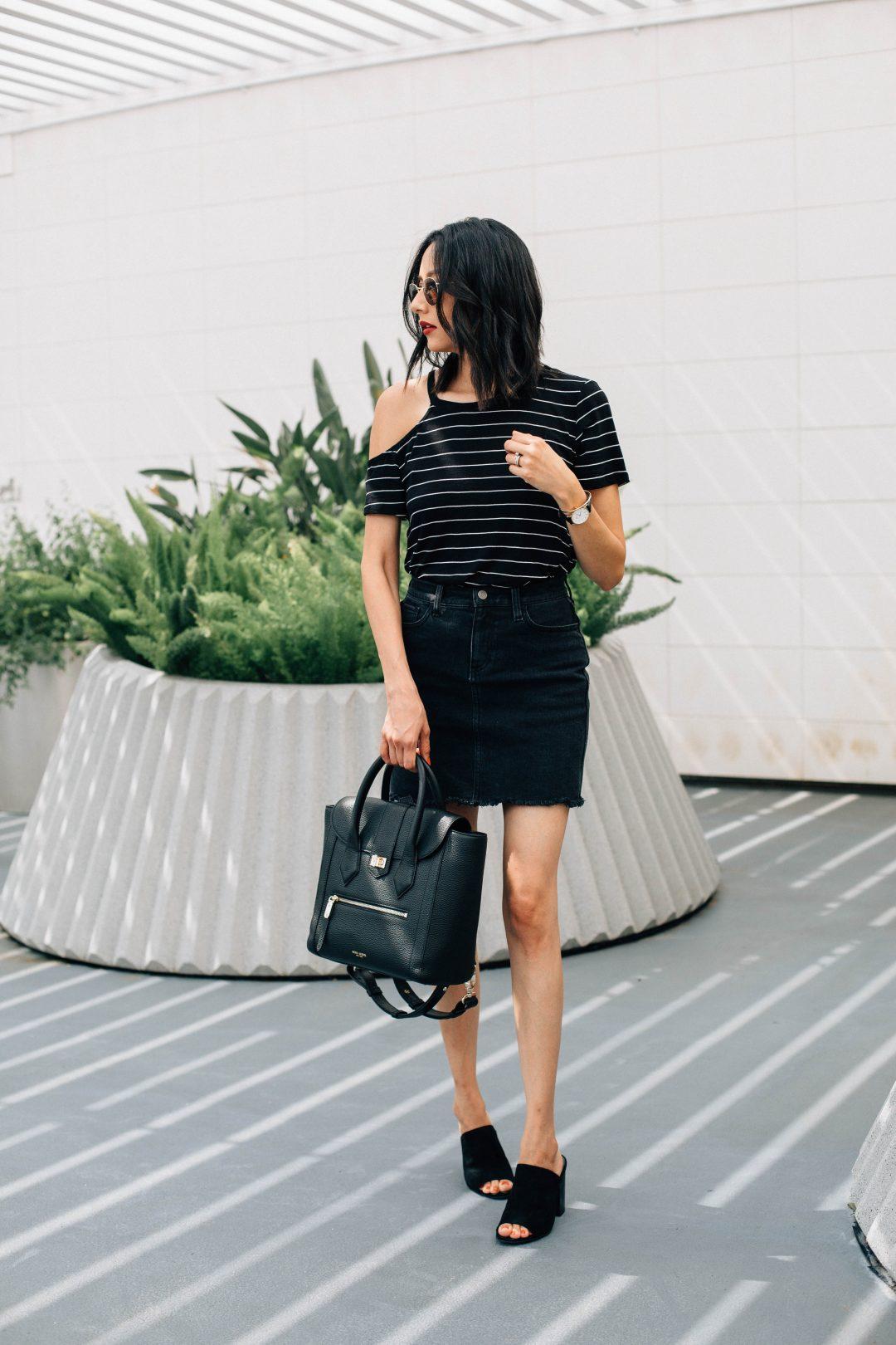 DSTLD black denim skirt. Stripes cold shoulder tee. Summer Outfit. Edgy outfit
