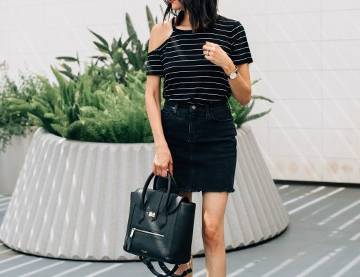 DSTLD black denim skirt. Stripes cold shoulder tee. Summer Outfit. Edgy outfit