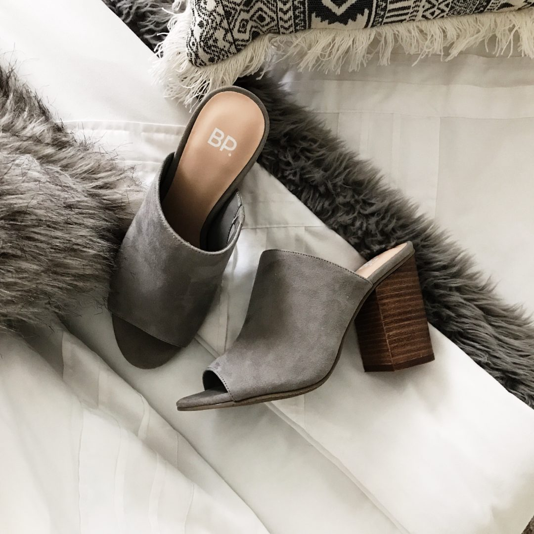 Nordstrom Anniversary Sale. Grey suede slides. Fall style.