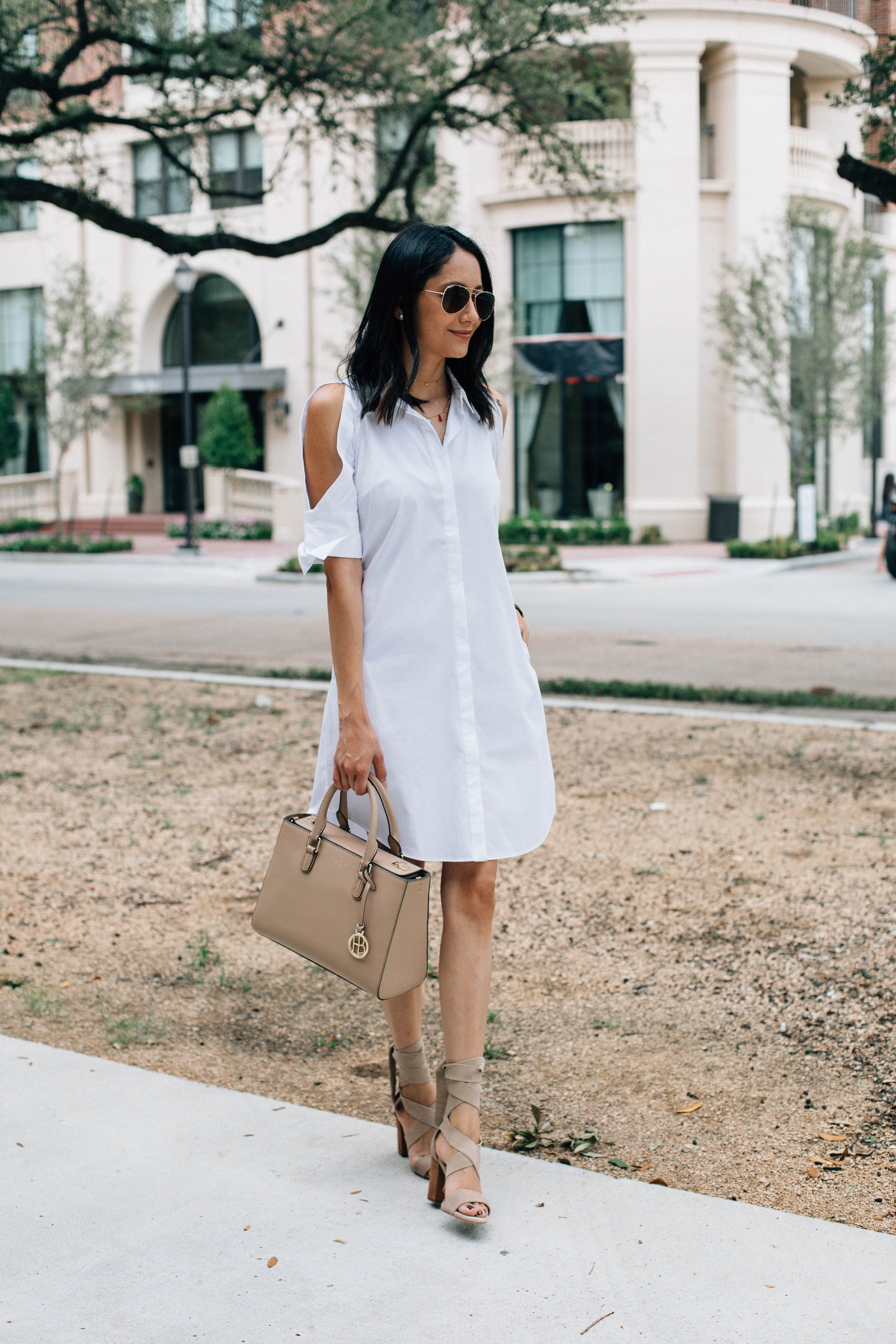 How to style a white dress. Rachel Roy dress. Nude sandals & bag. Cold shoulder white dress