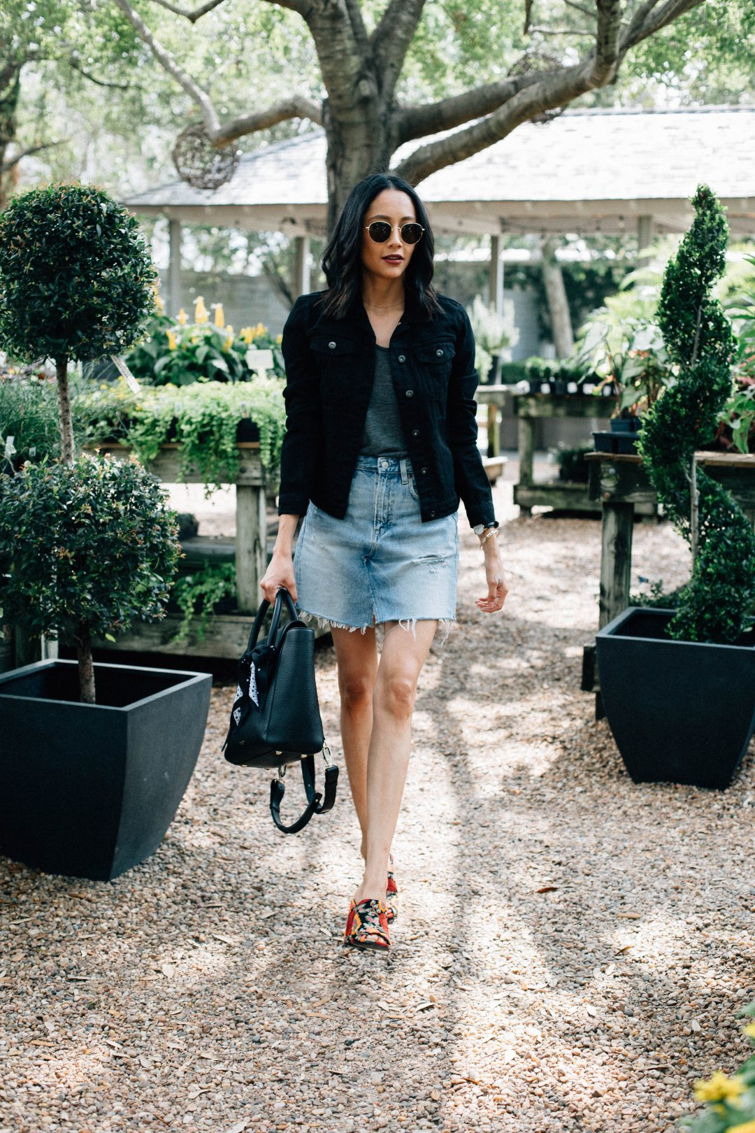 Black denim jacket & denim skirt. Summer Outfit