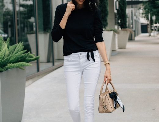 Tie front t-shirt, white denim & nude booties
