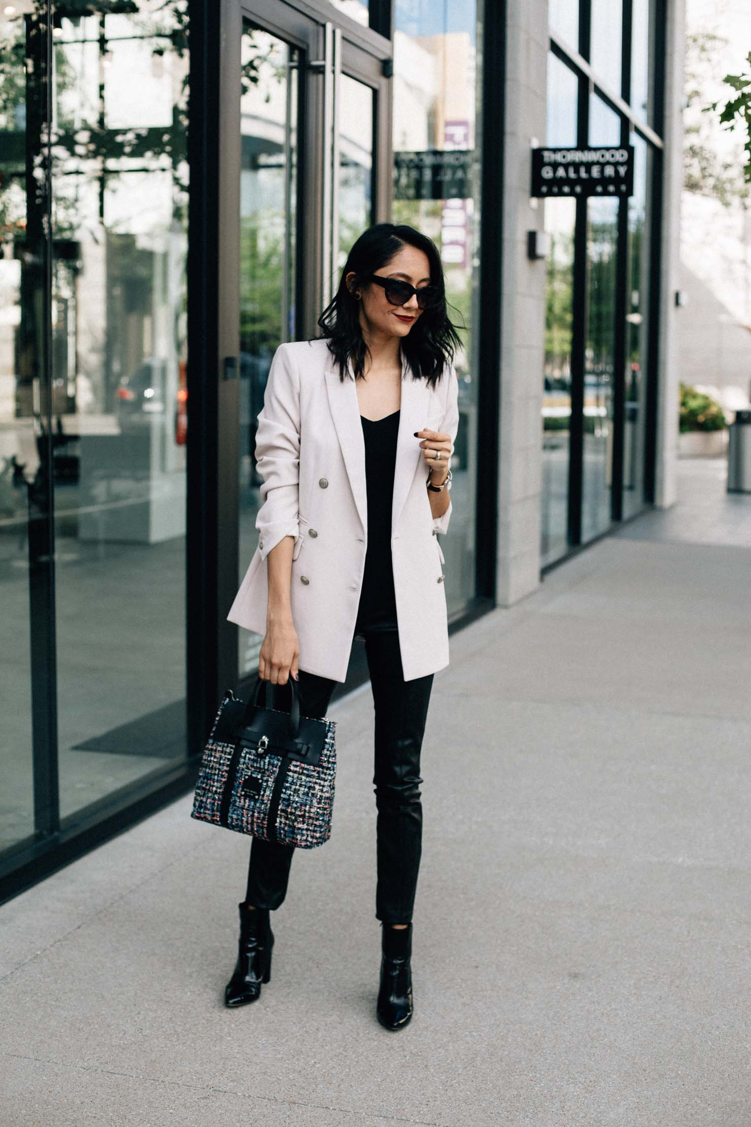 Daily Craving wearing a chic fall look with faux leather leggings and a blush blazer