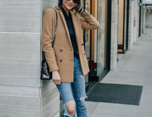 fashion blogger Lilly Beltran of Daily Craving wearing a classic fall outfit with a camel coat, ripped jeans and brown suede pumps