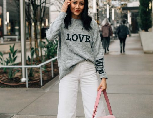 Valentine's Day Outfit Idea | Wide leg white denim | Pink Fossil Bag | Houston Based Fashion Blogger Lilly Beltran