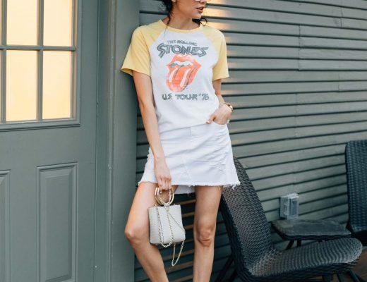 Houston Based Fashion Blogger | Spring Trend we're loving | Denim skirt & band tee