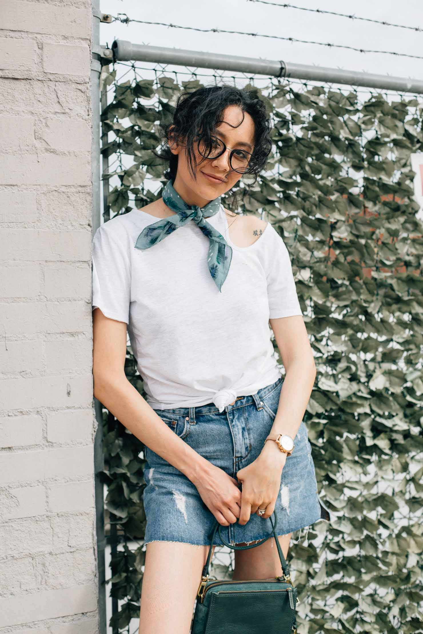 5 tips to achieving perfect effortless style | Denim skirt paired with a white tee & neck bandana