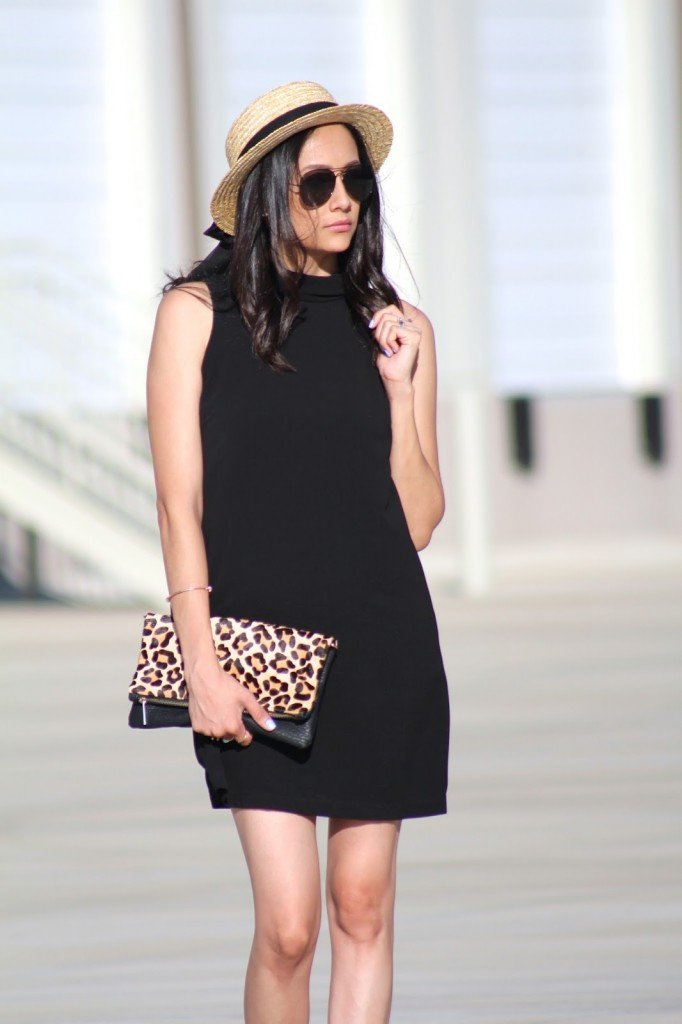 Black dress, Boater hat and leopard print clutch