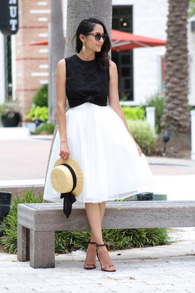 White Tulle Midi Skirt