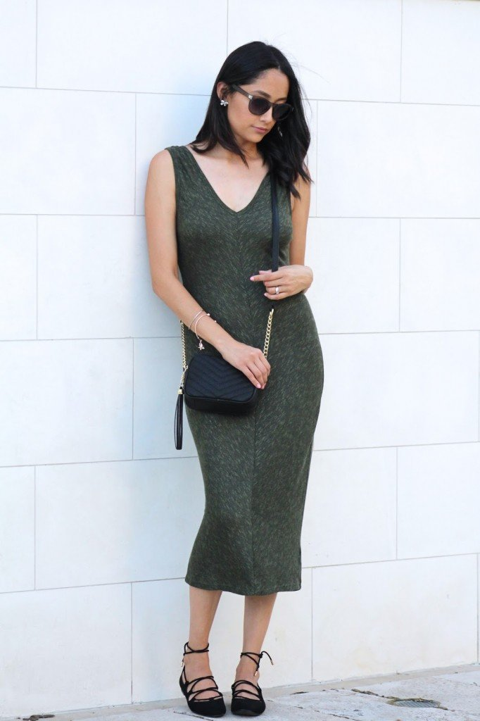 Lace-Up Flats & Olive Midi Dress
