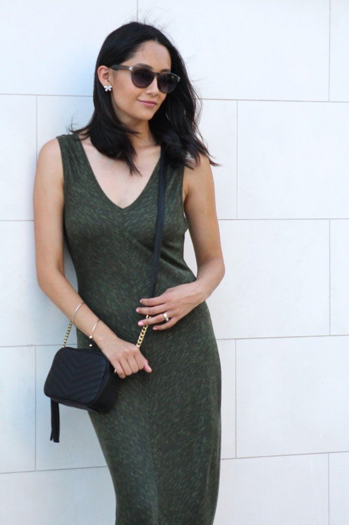 Olive dress & black accessories