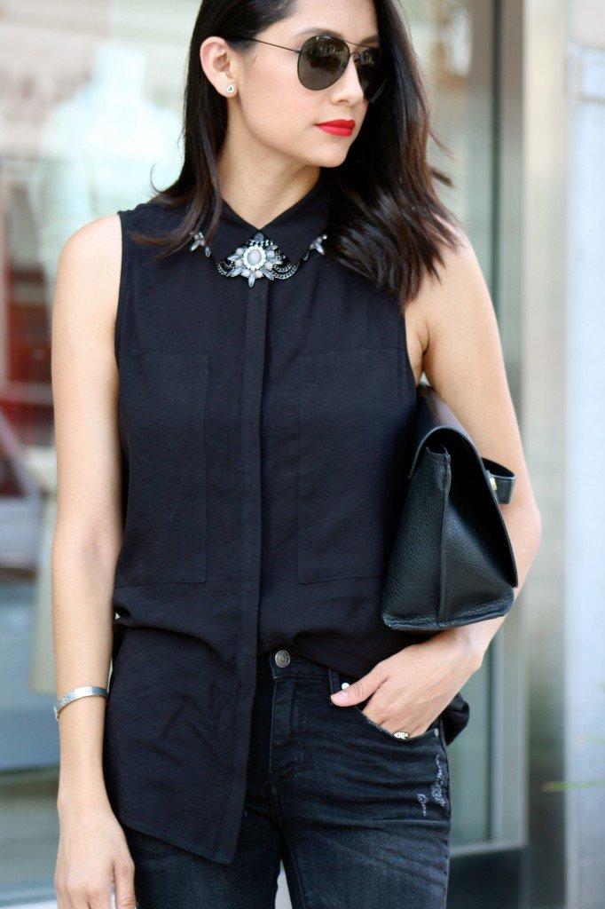 Pleione black sleeveless top