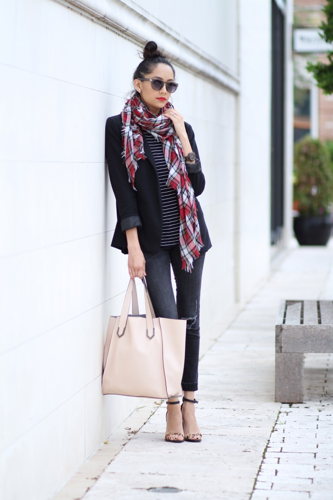how to wear stripes with plaid