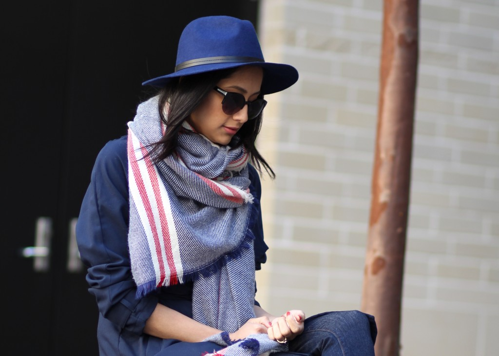 Navy fedora & matching blanket scarf