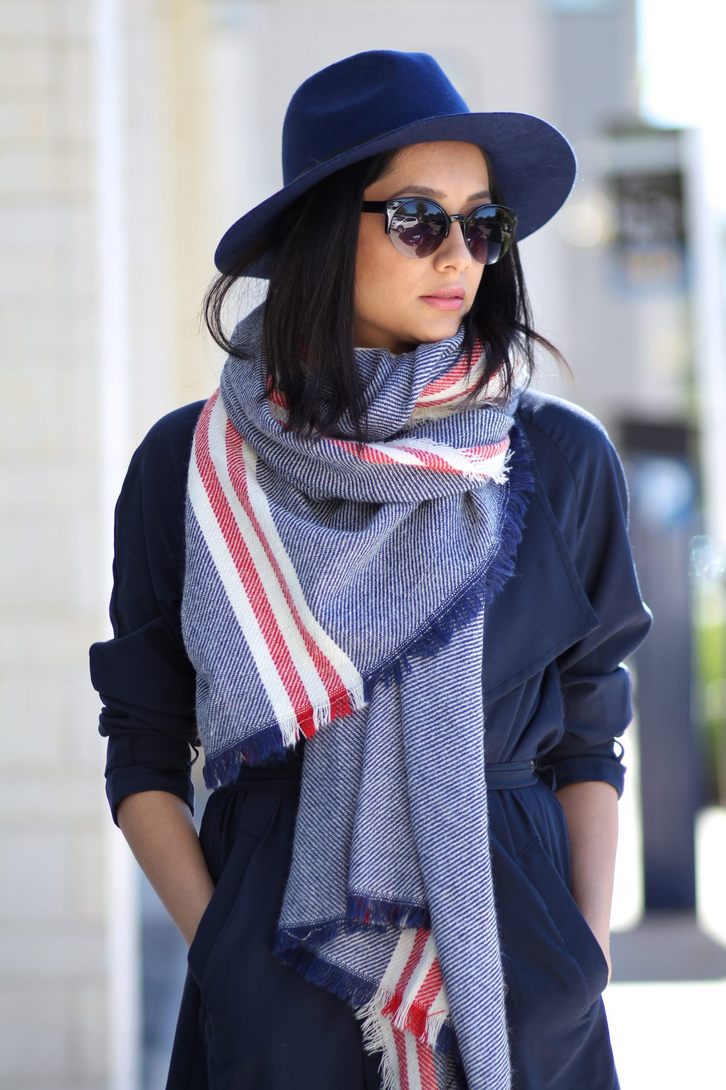 Navy trench coat, fedora & blanket scarf-Perfect Fall outfit
