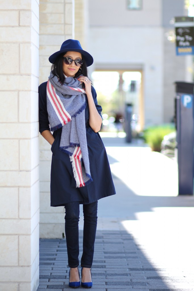 Perfect fall outfit- Trench coat, fedora & blanket scarf