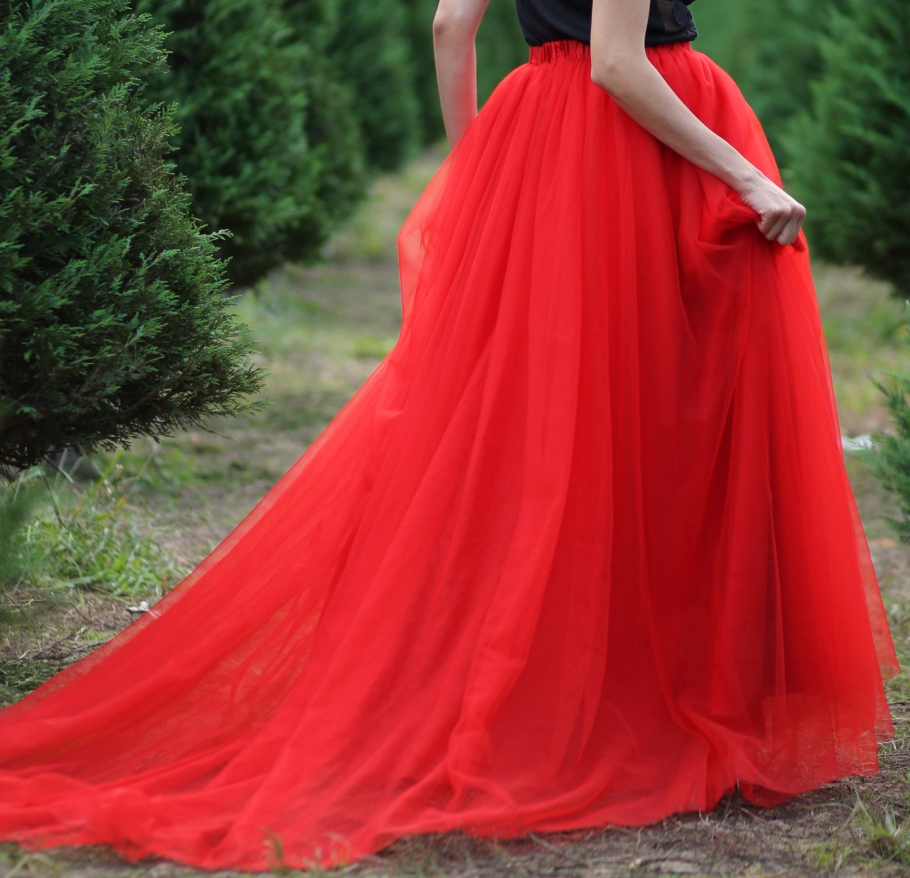 Red Tulle Skirt with a train