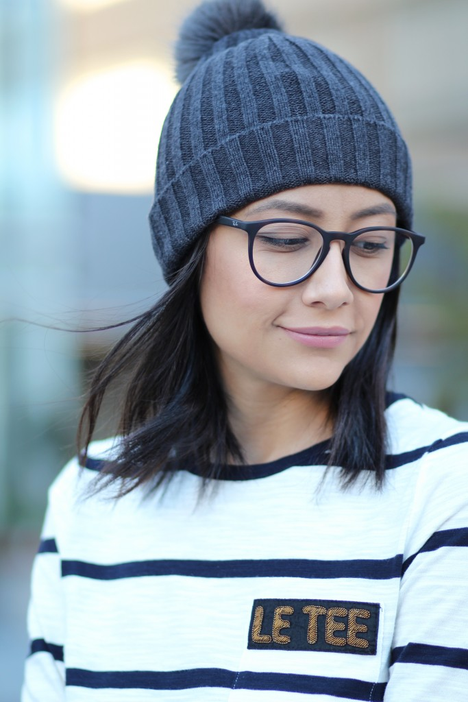 Banana Republic pompom beanie and striped tee
