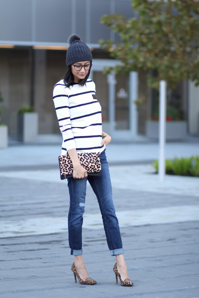 Winter stripes and leopard casual outfit.