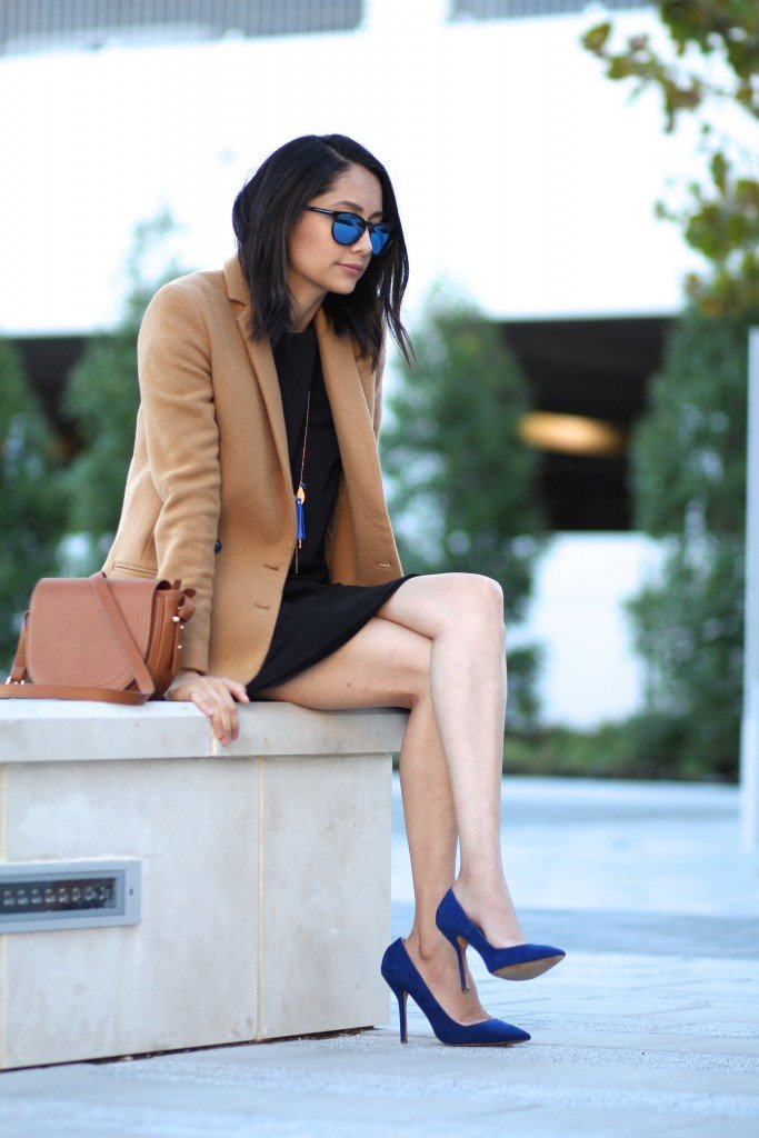 black dress, camel blazer & blue shoes