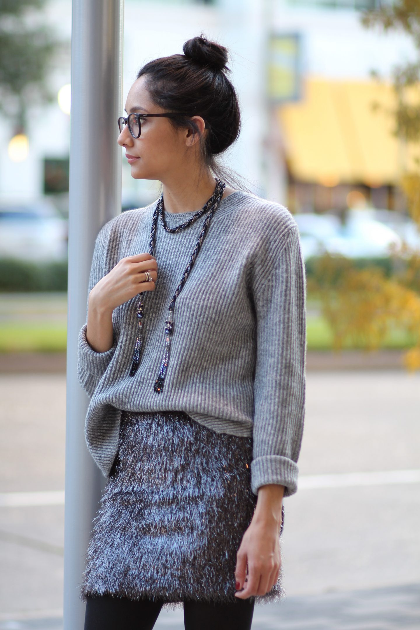 Comfy Holiday Outfit- Tinsel Skirt