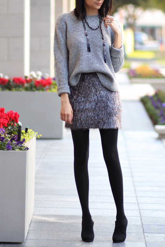 Tinsel skirt, tights, & oversized sweater-Holiday look