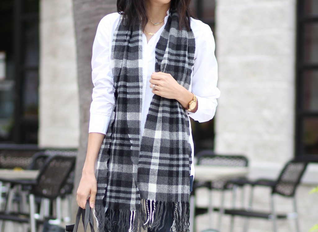 grey, white & black plaid scarf
