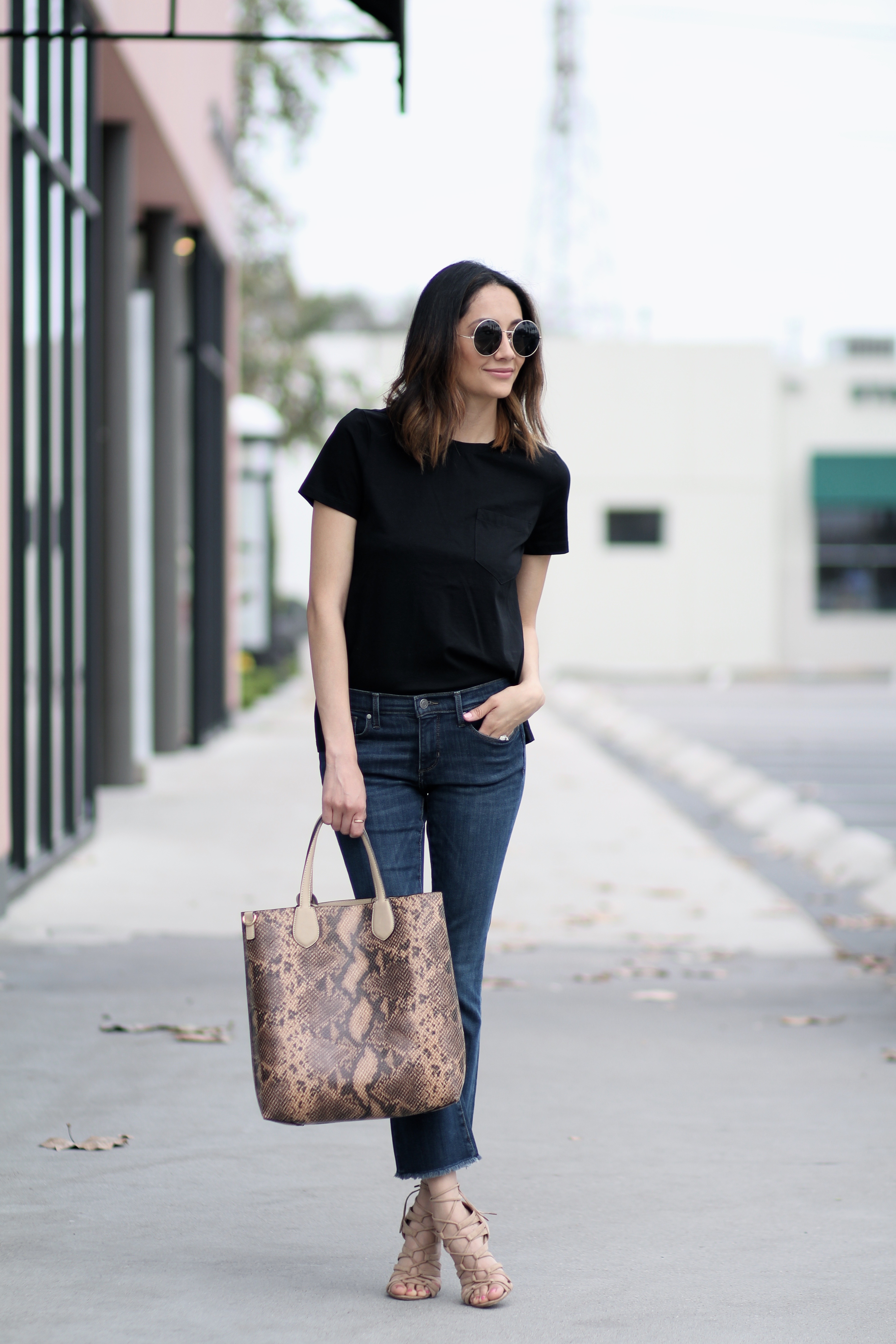 Lilly Beltran of Daily Craving blog wearing a casual look with crop denim and nude heels