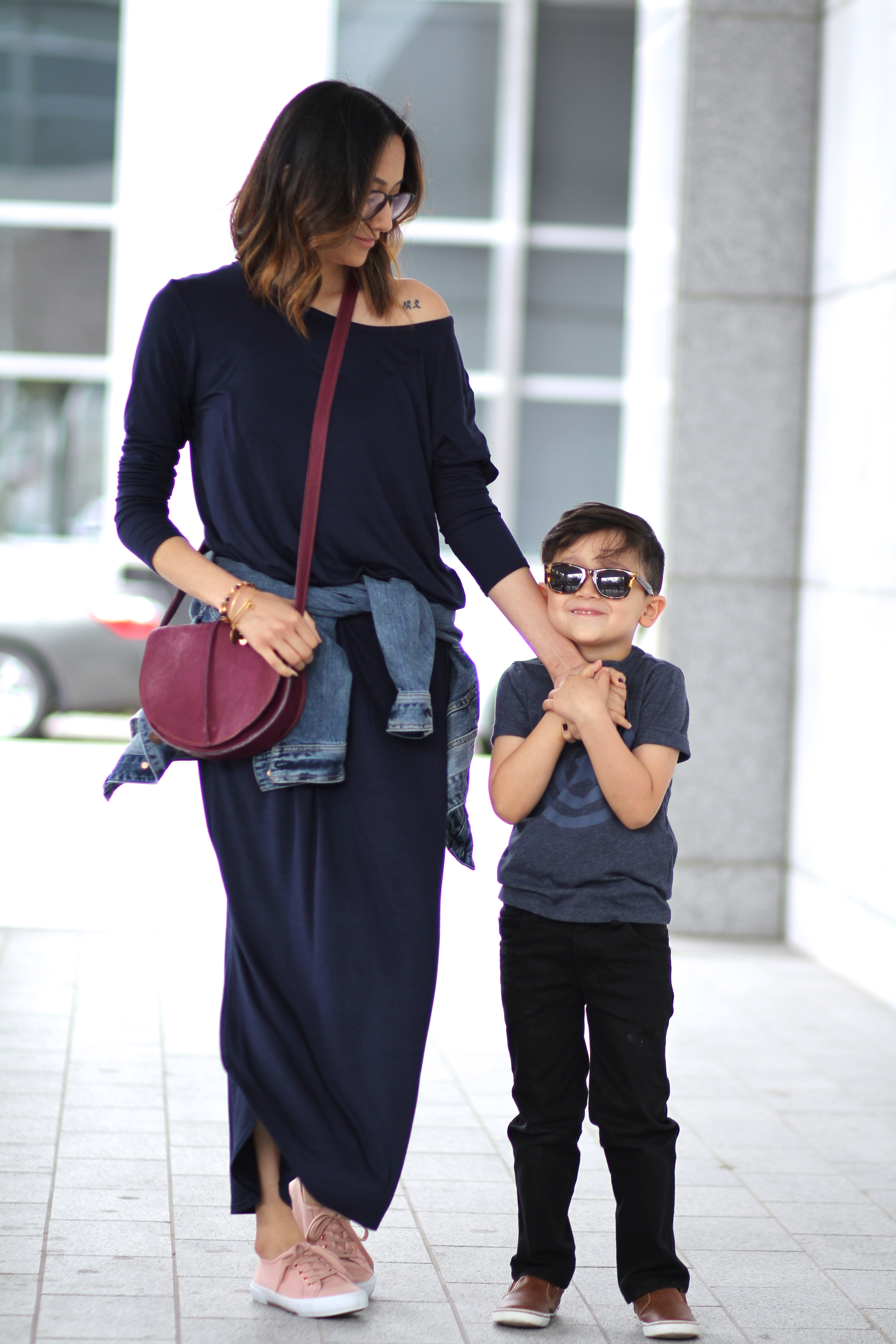 maxi dress and sneakers