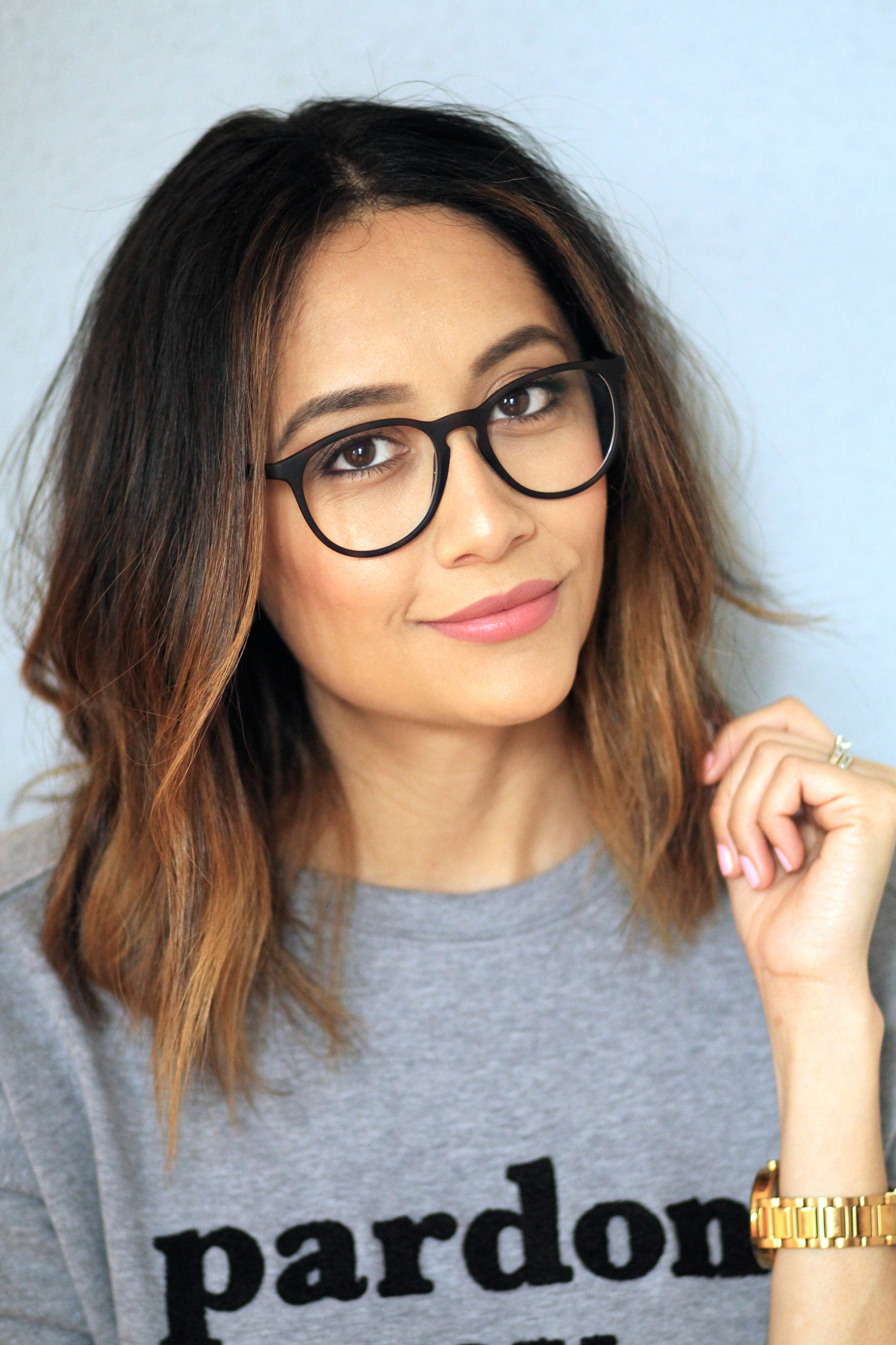 Lilly Beltran of Daily Craving with brunette ombre hair