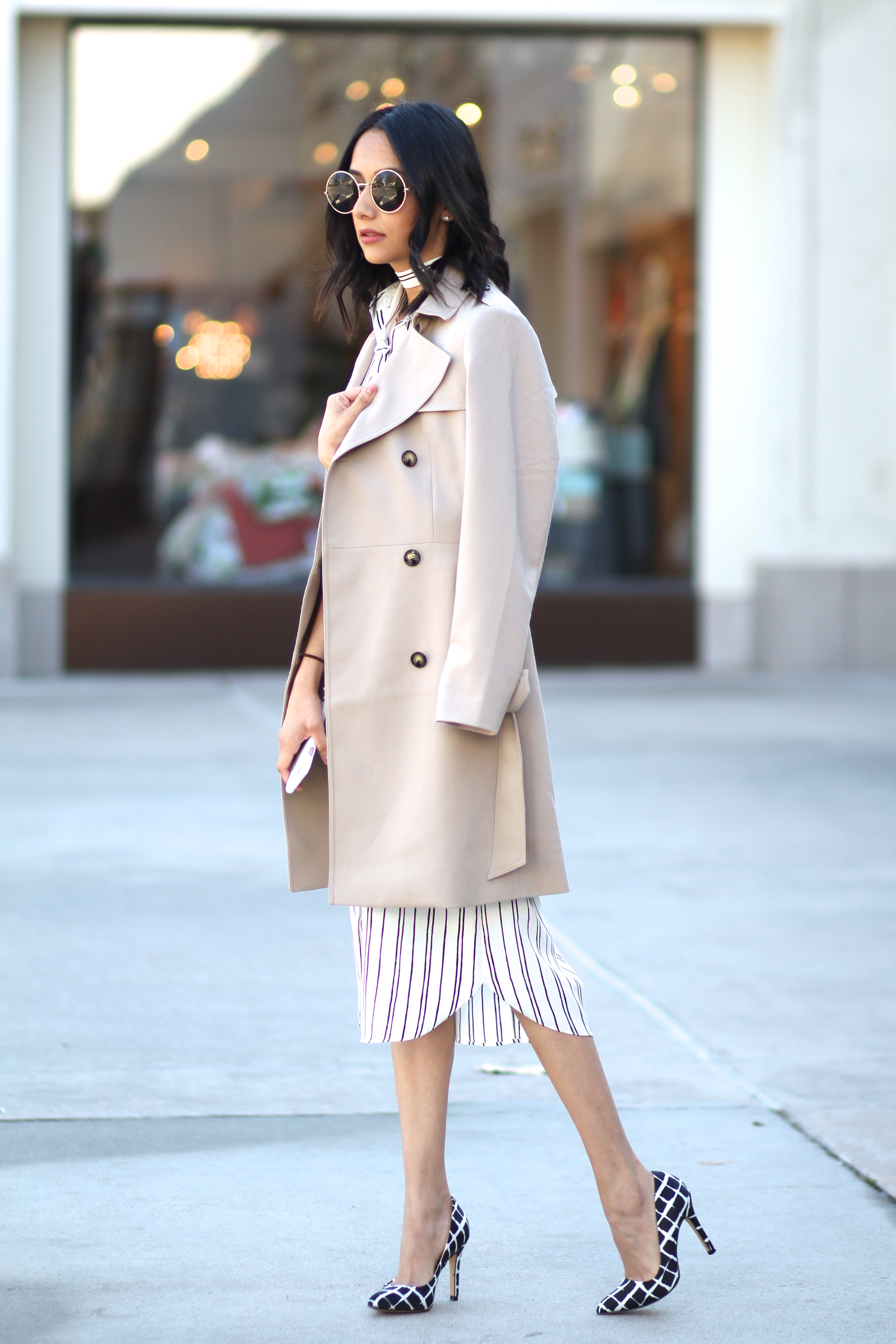 how to wear a pinstripe dress with plaid pumps