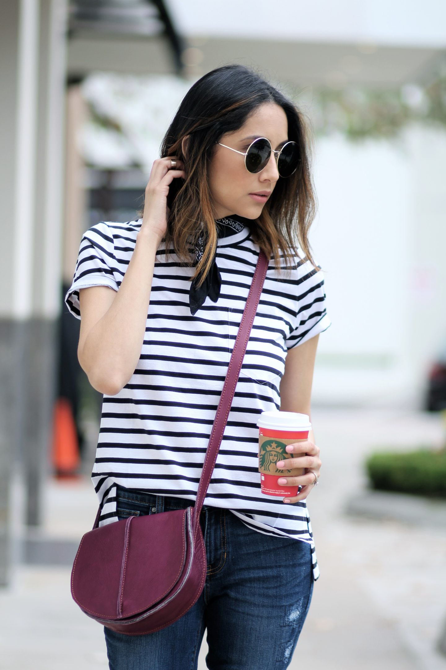 a casual chic outfit finished with a leather saddle bag